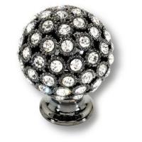 MOB 472 26 SWA CF Ручка кнопка с кристаллами Swarovski, эксклюзивная коллекция, цвет - черный глянец