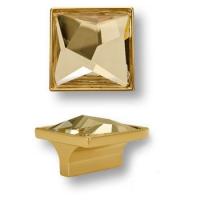 15.390.32.SWA.19 Ручка кнопка с кристаллом Swarovski эксклюзивная коллекция, глянцевое золото 32 мм