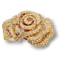 MOB 403 SWA 19 Ручка кнопка в форме розы с кристаллами Swarovski, цвет - глянцевое золото