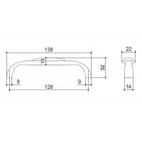 C4154-128.ABD/ALF.28 Ручка-скоба 128мм, отделка бронза + керамика