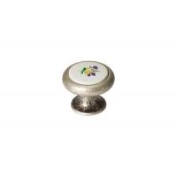 24043.F62P.624.14M Ручка-кнопка, отделка серебро старое + вставка