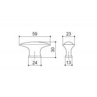 C4155-60.ABD/ALF.28 Ручка-кнопка, отделка бронза + керамика