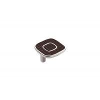 24064E0522A.32 Ручка-скоба 32мм, отделка никель глянец + тёмно-коричневый (кайман)