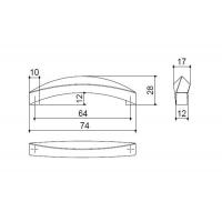 F107/C-CM Ручка-скоба 64мм, отделка сталь шлифованная