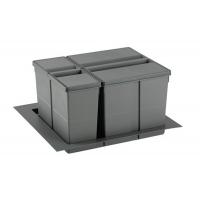 9XL Система хранения в базу 600, H.277мм (ведра: 1х11л, 1х26л с разделителем), отделка орион серый