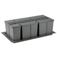 9XL Система хранения в базу 900, H.277мм (ведра: 1х11л,2х26л), отделка орион серый