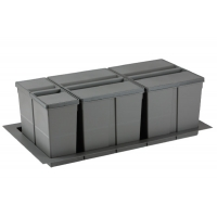 9XL Система хранения в базу 900, H.277мм (ведра: 1х11л,1х26л, 1х26л с разделителем), отделка орион серый