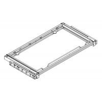 Полка с бортиком в базу 900 выджвижная с алюминиевой рамкой под стекло, отделка хром