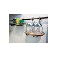 Сахарница подвесная (две емкости) на рейлинг 195х155х210 мм, хром матовый