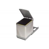 Ведро для мусора (16л) выдвижное, пластик серый металлик + сталь нержавеющая
