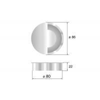 Заглушка кабель-канал, d=80мм, отделка хром глянец