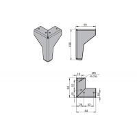 Ножка декоративная Модена, h.100, отделка черный бархат (матовый)