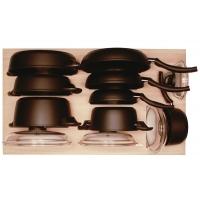 Ёмкость в базу 900, с набором посуды (12 предметов), бук, для ящика Hettich (L=470мм)