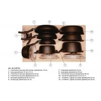Ёмкость в базу 900, с набором посуды (12 предметов), венге, для ящика Blum (L=500мм)