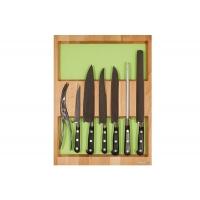 Ёмкость в базу 450, с набором ножей (7 предметов), бук, для ящика Hettich (L=470мм)