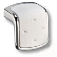 475032MP02ST01 Ручка кнопка модерн, глянцевый хром с белой вставкой