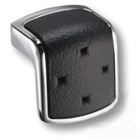475032MP02ST04 Ручка кнопка модерн, глянцевый хром с черной вставкой