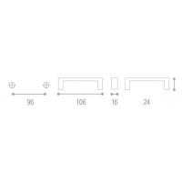 8002208.005.000800 Ручка-скоба L128мм, Aquila с прозр.вставками, нерж.сталь