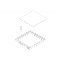 Полка стеклянная,для рамки в базу 530, арабика (459,5х461х8мм, матированная)
