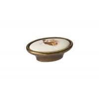 P18.01.02.02 Ручка-кнопка, отделка бронза старая + керамика