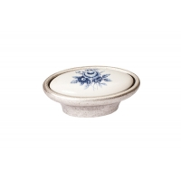 P18.01.69.15 Ручка-кнопка, отделка серебро старое + керамика
