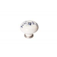 P03.01.25.15 Ручка-кнопка, отделка серебро старое + керамика