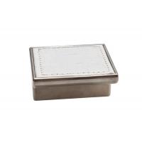 24206E0575B.32 Ручка-скоба 32мм, отделка никель глянец + белый (крокодил)