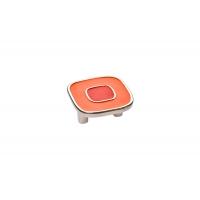 24064Z0520B.X32 Ручка-скоба 32мм, отделка никель глянец + оранжевый/красный