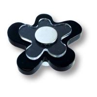678NE Ручка кнопка детская, цветок черный