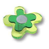 678VE Ручка кнопка детская, цветок зеленый