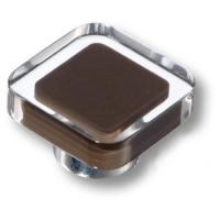 697MA Ручка кнопка квадратная модерн, коричневый