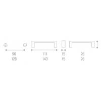 8001908.002.041000 Ручка-скоба L128мм, Atria с прозрачными вставками, хром