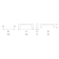 8001906.002.041000 Ручка-скоба L96мм, Atria с прозрачными вставками, хром