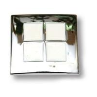 7174.0038.026.084 Ручка кнопка эксклюзивная коллекция, глянцевый хром с белой эмалью