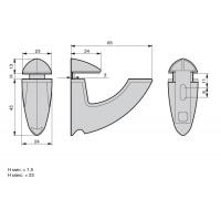 """HR01.0083  Менсолодержатель """"Horn"""", отделка хром матовый, комплект 2 штуки"""