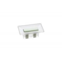 8.1069.0016.94-0411 Ручка-кнопка 16мм, отделка транспарент матовый + светло-зелёный