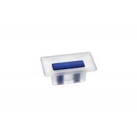 8.1069.0016.94-0473 Ручка-кнопка 16мм, отделка транспарент матовый + синий
