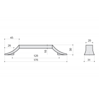 8.1093.0128.40-52 Ручка-скоба 128мм, отделка хром глянец + чёрный матовый