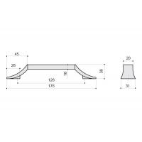8.1093.0128.40-70 Ручка-скоба 128мм, отделка хром глянец + белый матовый