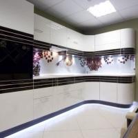 Кухонный гарнитур 727, фасады эмаль+шпон любые размеры, изготовление на заказ