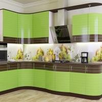 Кухонный гарнитур 75, фасады эмаль + шпон, любые размеры, изготовление на заказ