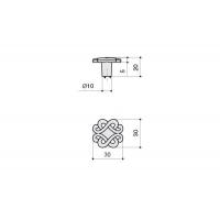 IA108Z03000.69 Ручка-кнопка, отделка серебро лунное