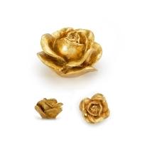 RE 01 19 Ручка кнопка в форме розы,смола, ручная работа, цвет золото