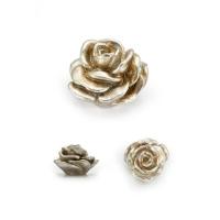 RE 02 15 Ручка кнопка в форме розы, смола, ручная работа, цвет серебро
