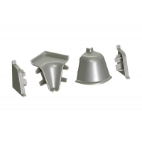 Комплект угловых элементов для овального бортика, цвет серый металлик