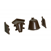 Комплект угловых элементов для овального бортика, цвет темно-коричневый