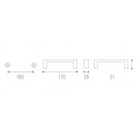 MZ.1430.F37 Ручка металлическая, L=160мм с креп. компл.
