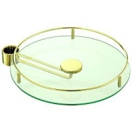 BS350OT Полка стекло с боковым креплением D=350 для барной стойки, золото