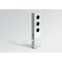 Блок розеток POWER TURM PLUS со стеклянной полкой (3 розетки+2 USB), защитный экран - нержавеющая сталь