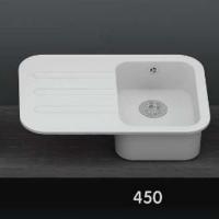 Интегрированная кухонная мойка с крылом OMEGA CLASSIC 450 из искусственного камня
